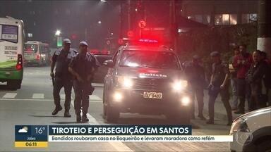 Perseguição e tiroteio assusta moradores de Santos - Um bandido morreu e outros três ficaram feridos em uma troca de tiros com a polícia. Eles haviam roubado uma casa e feito uma moradora refém no Boqueirão.