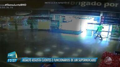 Bandidos assaltam casa lotérica dentro de supermercado, no bairro de São Cristóvão - Crime aconteceu por volta das 16h30 de quinta-feira (9).