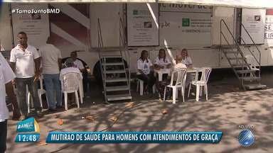Mutirão de saúde oferece consultas médicas para homens em Salvador - O Bahia Meio Dia deste sábado (11), será apresentado no bairro dos Vale dos Lagos onde acontece o evento.