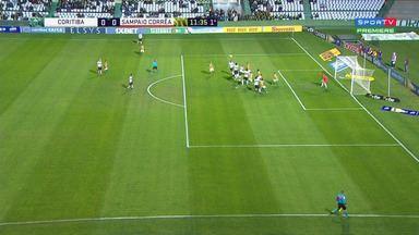 Coritiba chega com perigo contra Sampaio em cobrança de falta de Thiago Lopes - Thiago Lopes bate para área, ninguém desvia e bola passa rente à trave do Sampaio. Quase o Coritiba marca.