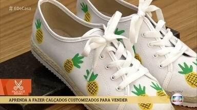 Aprenda a fazer calçados customizados para vender - Dê uma cara nova no tênis antigo pintando estampas