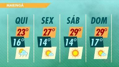 Previsão é de chuva isolada em alguns bairros de Maringá nesta quinta-feira - Confira a previsão do tempo para Maringá e região.