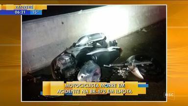 Motociclista morre em acidente na BR-470 em Ilhota - Motociclista morre em acidente na BR-470 em Ilhota