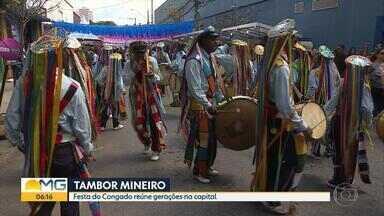 Tradição do congado mineiro é celebrada em BH com música e encontro de gerações - Maurício Tizumba e Isabel Gasparino participaram da festa.
