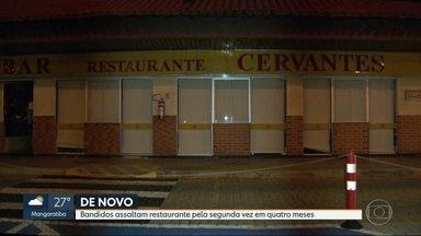 Ladrões assaltam restaurante na Barra pela segunda vez em 4 meses - Assaltantes estavam armados de fuzil e pistolas e levaram tudo de clientes e do caixa do restaurante