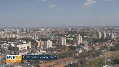 Campinas tem máxima de 29ºC e mínima de 14ºC sem previsão de chuva - Confira a previsão do tempo para as outras cidades da região.