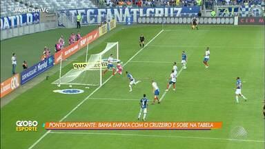 Bahia empata com Cruzeiro e sobe na tabela de classificação do Campeonato Brasileiro - Jogo aconteceu neste domingo (19), no Estádio do Mineirão, em Belo Horizonte. Confira também a análise do comentarista Gustavo Castellucci, sobre a partida.