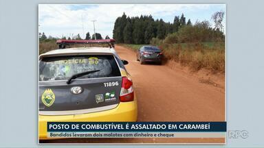 Posto de combustível é assaltado em Carambeí - Os bandidos levaram dois malotes de dinheiro.