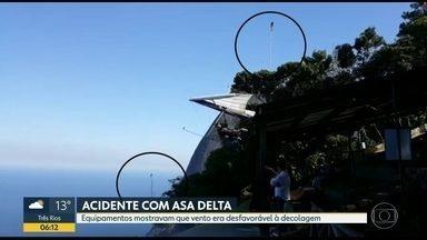 Especialistas dizem a decolagem estava proibida no momento do acidente com asa delta - O acidente ocorreu nesta terça (21) em São Conrado, duas pessoas ficaram feridas. A asa delta caiu no momento de decolagem. Segundo especialistas, equipamentos mostravam que o vento era desfavorável à decolagem.