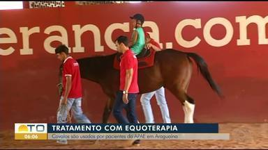 Em Araguaína jovem faz tratamento chamado Equoterapia que utiliza cavalos para tratamento - Em Araguaína jovem faz tratamento chamado Equoterapia que utiliza cavalos para tratamento