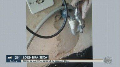 Moradores reclamam de falta d'água há 10 dias em Cravinhos, SP - Prefeitura alega conserto em bomba e diz que vai restabelecer abastecimento em 4 dias.