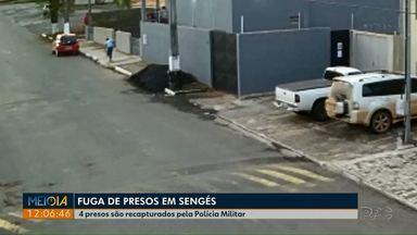 Quatro presos que fugiram da cadeia de Sengés são recapturados pela Polícia Militar - Ao todo, 12 presos conseguiram fugir pulando o muro da frente da delegacia da cidade na tarde de quarta-feira (22).