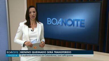Menino de um ano que se queimou com café vai ser transferido - A criança teve 40% do corpo queimado e vai ser encaminhada para tratamento em hospital especializado de Curitiba.