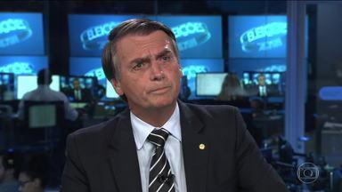 Jair Bolsonaro (PSL) é entrevistado no Jornal Nacional - O candidato do PSL à presidência foi entrevistado ao vivo, na bancada do JN, por William Bonner e Renata Vasconcellos.