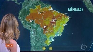 Frente fria provoca chuva no Sul do país - A chuva continua no Espírito Santo e no leste nordestino e Norte. Já em boa parte do país, o tempo continua seco.