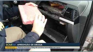 Polícia Rodoviária Federal apreende 53 kg de cocaína escondida em carro - O flagrante aconteceu em Santa Terezinha de Itaipu.