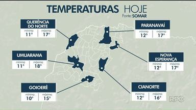 Previsão de chuva para tarde dessa segunda (03) no Noroeste - As máximas ficam entre 15 e 18 graus na região.