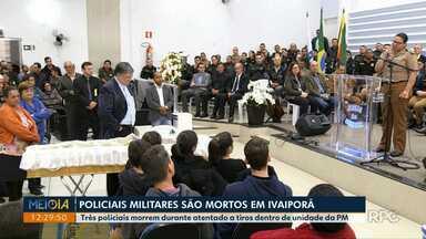 Corpos de policiais militares mortos em Ivaiporã são velados - O caso ocorreu ontem (2) quando um soldado chegou atirando contra outros dois policiais.
