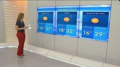 Veja a previsão do tempo para o Sul do ES - Máxima de 33ºC para a região.