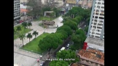 Praça Santuário continua fechada para os turistas, em Belém - Após obras, praça era para ser entregue dia 3 de agosto de 2018
