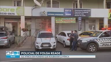 PM reage a assalto em Sobradinho - Dois bandidos invadiram uma lotérica em Sobradinho para roubar os clientes. Um policial militar da reserva reagiu e deu vários tiros nos assaltantes. Um ficou ferido e foi levado para o hospital.