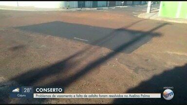 Após reclamação, Prefeitura arruma asfalto no bairro Avelino Palma em Ribeirão, SP - Problema começou com vazamento de água limpa na esquina das ruas José Benedito da Silva e Raphael de Lucca. O conserto foi feito, mas o asfalto não havia sido reposto.