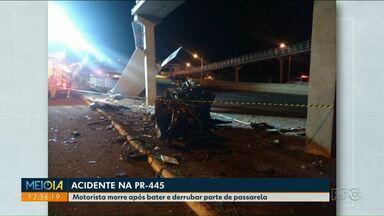 Homem morre depois de bater carro contra passarela na PR-445 - Passarela era nova a ainda passava por obras.