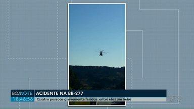 Menino ferido em acidente na BR-277 é transferido para Ponta Grossa - Acidente foi em Irati.