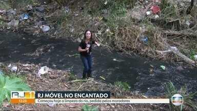 O RJ Móvel dessa segunda-feira foi ao bairro do Encantado, no Rio - Os moradores cobram a limpeza do rio Faria, que corta o bairro.