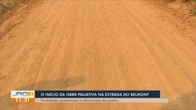 Obra paliativa teve início na estrada do Belmont - Há cerca de um mês mostramos a reclamação dos moradores, quanto a situação precária da estrada.