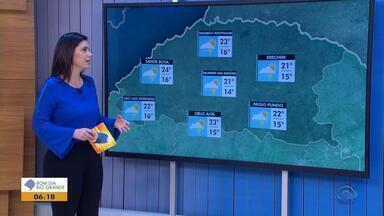 Tempo: apesar da chuva, temperaturas chegam aos 25ºC em cidades do RS - Há risco de temporal nesta quinta-feira (13).
