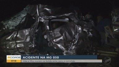 Mãe e filha morrem em acidente na MG-050, em Pratápolis, MG - Mãe e filha morrem em acidente na MG-050, em Pratápolis, MG