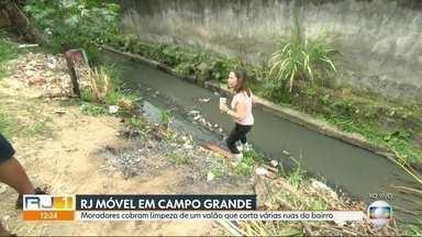 O RJ Móvel dessa quinta-feira foi em Campo Grande - Moradores querem a limpeza de um valão, que passa por várias ruas que cortam o bairro