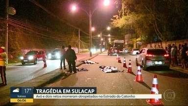 Avó e dois netos morrem atropelados em Sulacap - Parentes contaram que as vítimas voltavam da igreja, na Estrada do Catonho, quando foram atingidos.