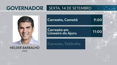 Confira a agenda de candidatos ao Governo do Pará para esta sexta-feira - Candidatos cumprem agenda de campanha na capital e no interior do estado.