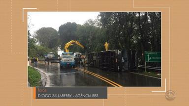 Ônibus de turismo se envolve em acidente e passageiros tem ferimentos leves em Veranópolis - Assista ao vídeo.