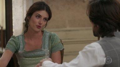 Cecília explica a Rômulo a preocupação com os pais do bebê - Ela diz que se não souber a história deles, viverá aos sobressaltos