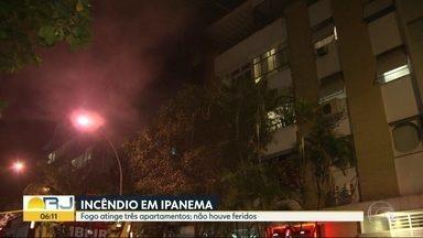 Fogo atinge três apartamentos, em Ipanema - O incêndio começou por volta de 19h30 deste domingo (16), num prédio na Rua Henrique Dumont, entre as ruas Visconde de Pirajá e Prudente de Moraes. O Corpo de Bombeiros foi ao local. O fogo foi controlado às 22h. Ninguém ficou ferido.