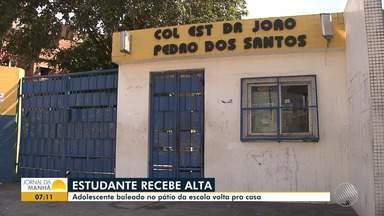 Adolescente baleado em pátio de escola recebe alta médica - O estudante, de 12 anos, foi atingido por uma bala na noite de terça-feira (11).