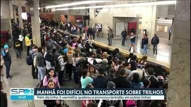 Um trem da linha 3-vermelha quebrou e provocou lentidão em outras linhas - É a terceira vez em menos de uma semana que passageiros que dependem do transporte sobre trilhos enfrentam problemas.