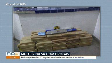 Polícia apreende 329 quilos de drogas dentro de mala na BA-026, em Tanhaçu - Confira mais informações no g1.com.br/bahia.