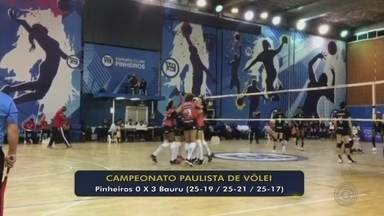 Sesi-Bauru vence Pinheiros e conquista segunda vitória no Paulista de vôlei - Mesmo jogando em São Paulo, meninas do interior paulista vencem num tranquilo 3 a 0