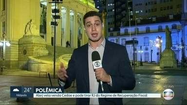 Alerj aprova emenda que proíbe venda da Cedae - Medida pode tirar estado do RJ de Regime de Recuperação Fiscal. Governador Pezão disse que vai vetar.