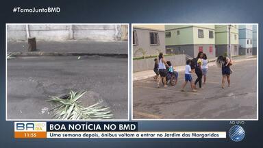 Após uma semana, ônibus voltam a circular no bairro de Jardim das Margaridas - O problema foi causado após o protesto de moradores em prol da morte de um jovem no local.