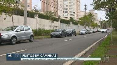 Rotina de furtos em veículos assusta moradores de região de Campinas - Suspeitos quebram os vidros dos carros e levam objetos das vítimas.