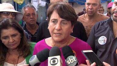 Eliana Pedrosa (PROS) visitou comércios e a feira permanente de Brazlândia - A candidata afirmou que, se for eleita, quer acabar com as filas de espera para exames e remédios na rede pública.