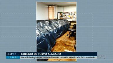 Colégio Estadual Edite Marques em Turvo fica alagado - O local já tinha sido atingido no fim do mês passado por um temporal.