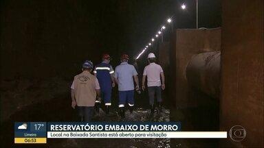 Reservatório de água está aberto para visitação na Baixada, em SP - Local estava fechado para limpeza e fica embaixo de morro, em Santos