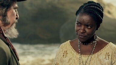 Cesária diz verdades na cara de Dom Sabino - A ex-escrava cita filho que Dom Sabino renegou e não poupa críticas à postura do congelado