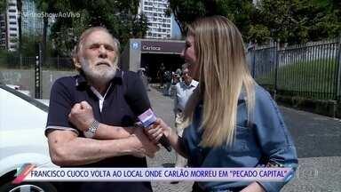 Francisco Cuoco volta ao local onde Carlão, seu personagem em 'Pecado Capital', morreu - Ator relembra cena emblemática que marcou o final da novela de 1975